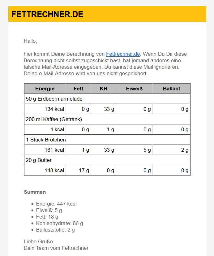 e-Mail mit der Berechnung