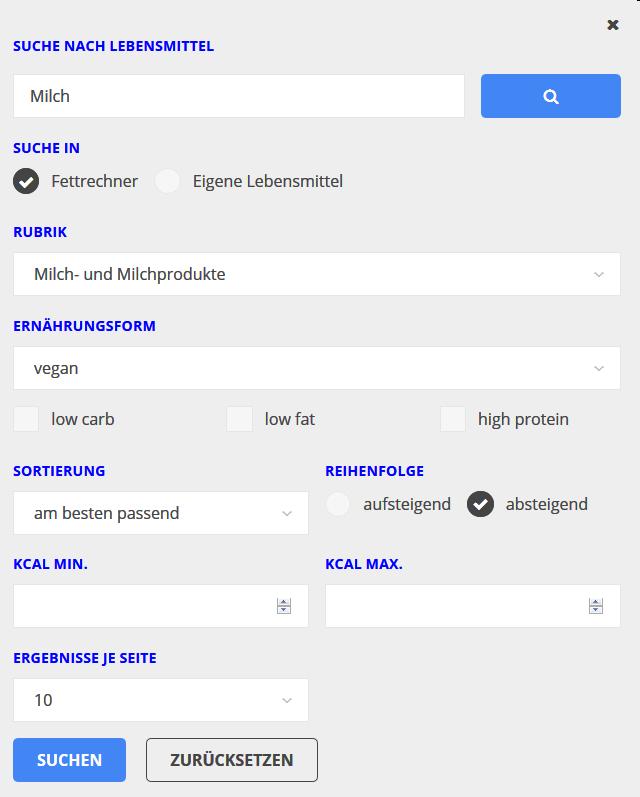 Suchmaske für die erweiterte Suche