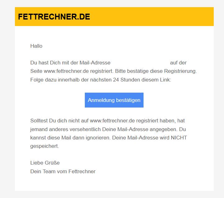 e-Mail zur Bestätigung der Registrierung