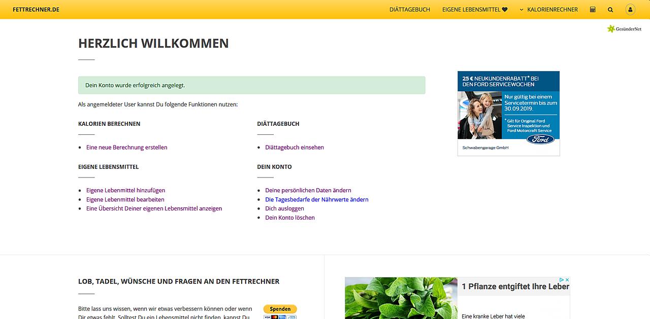 Bestätigung der Registrierung auf Fettrechner.de